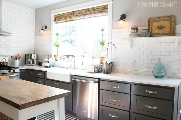 kitchen-with-grey-cabinets-and-subway-tile-bamboo-blinds