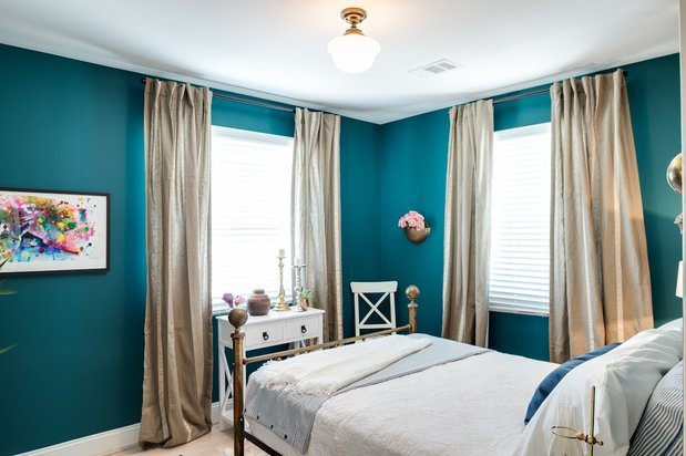 Home Free finished teal bedroom