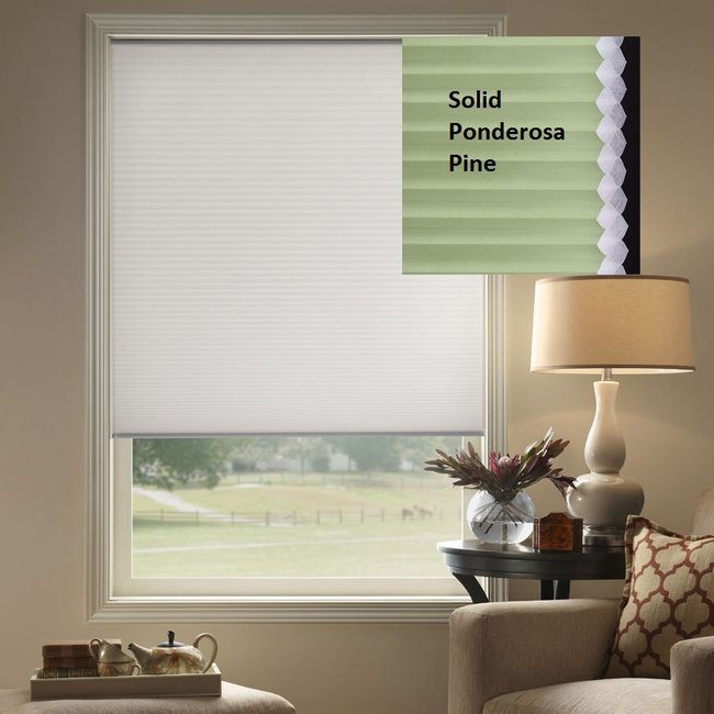 Premier Double Cell Light Filtering Shades in Solid Ponderosa Pine