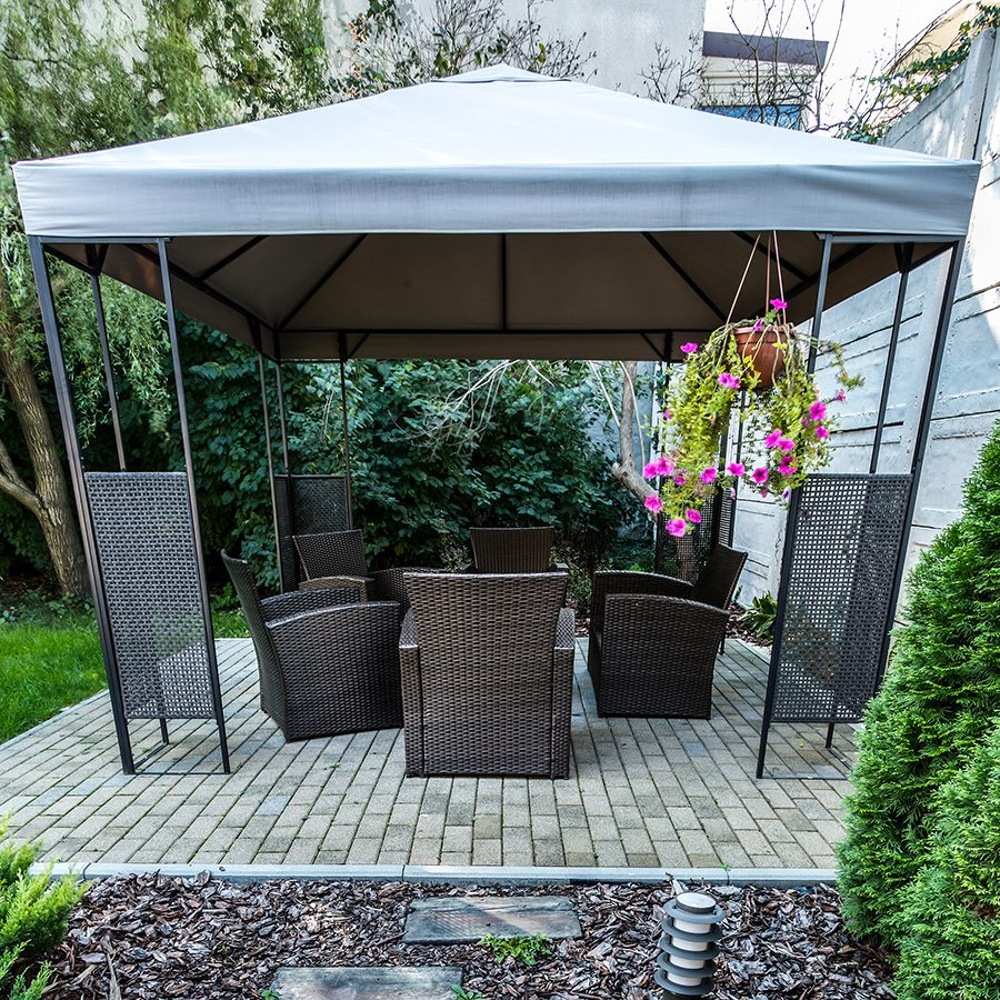Gazebos create an intimate space.