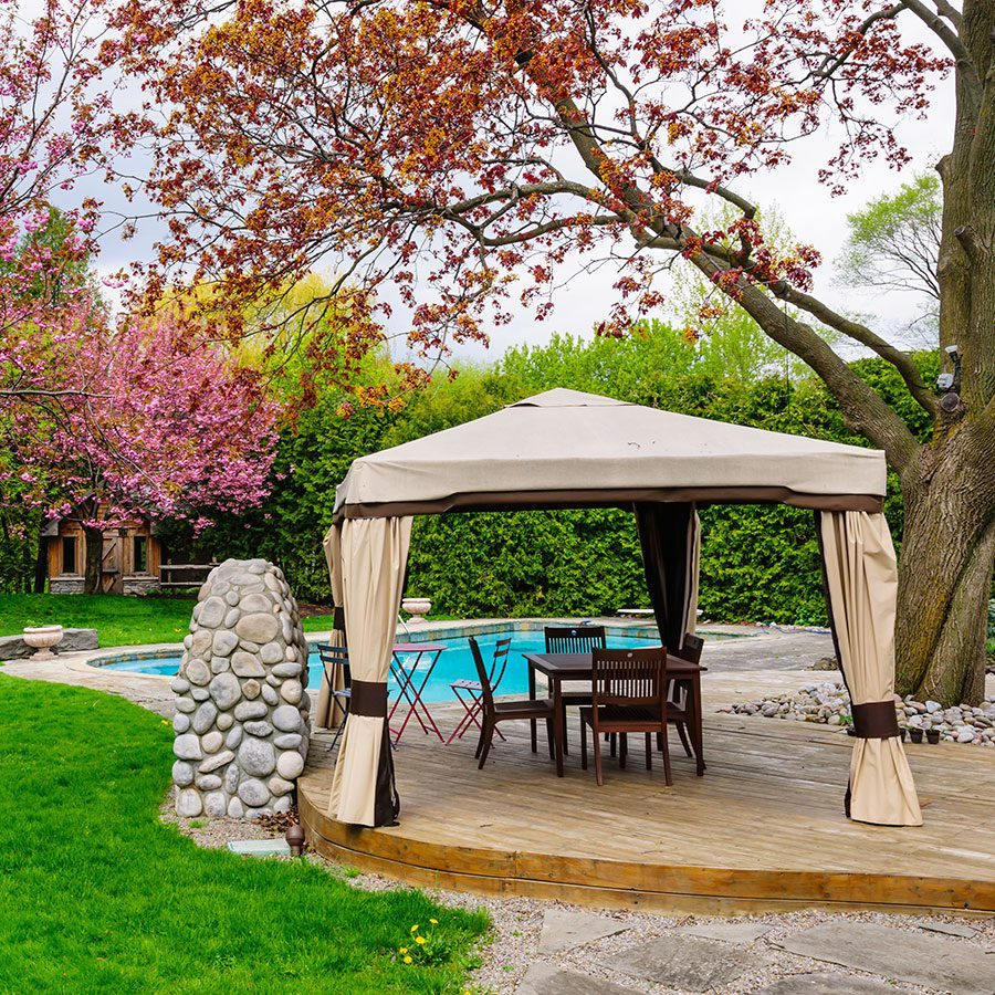 Add some drapes to an existing gazebo.