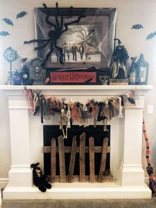 Ribbons on fireplace