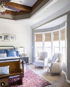 Southern Farm House Designs Shiplap Bedroom featuring Designer Series Wovens from SelectBlinds.com