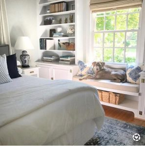 Pup relaxes with Roman Window Treatments from SelectBlinds.com