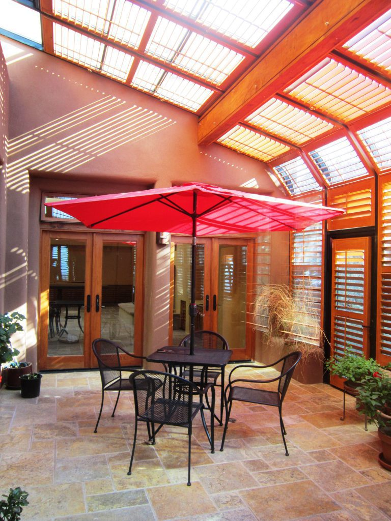 solarium with wood shutters