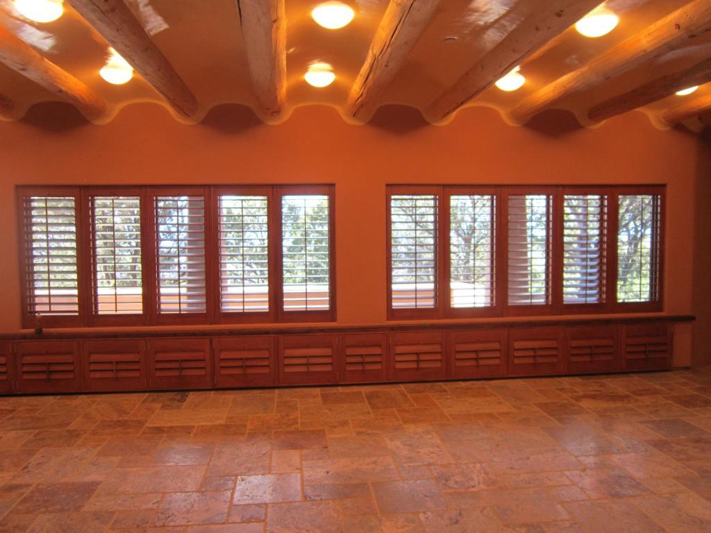 wood shutters great room