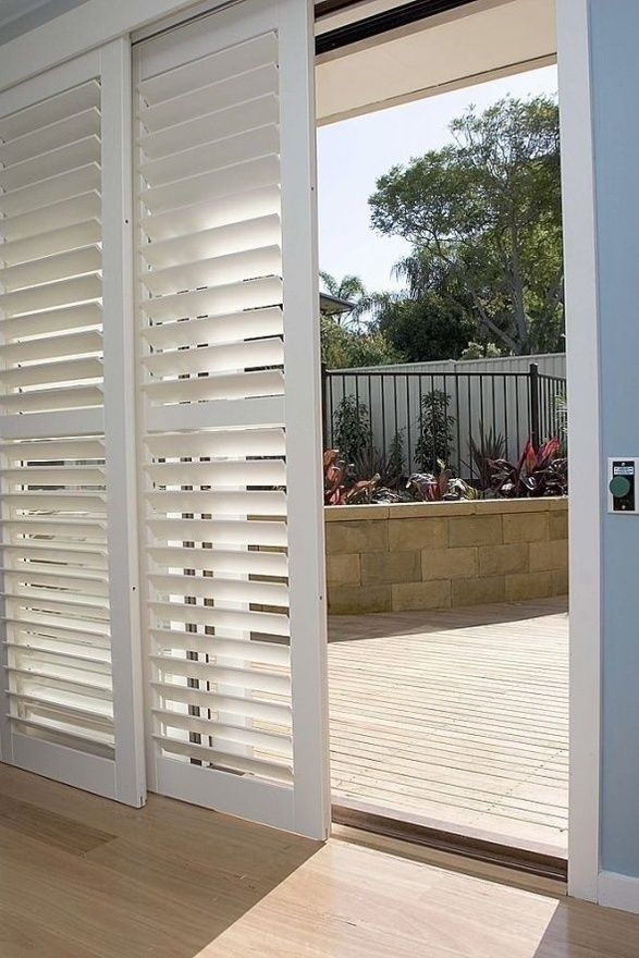 Use shutters for a different patio door look.