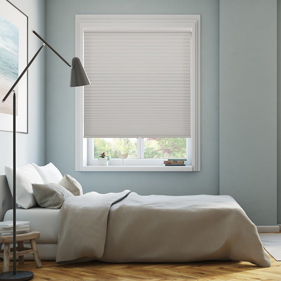 Signature Light Filtering Cordless Cell Shades in Gray from SelectBlinds.com