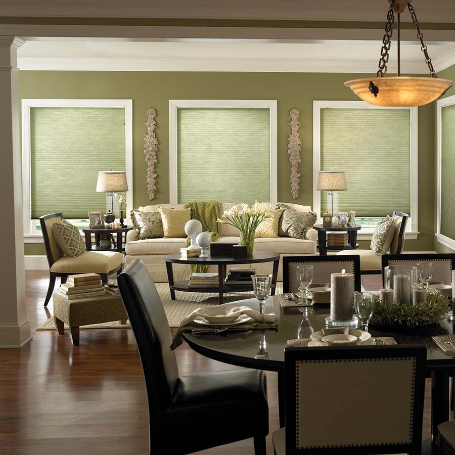 Premier Double Cell Light Filtering Shades in Rainforest Green from SelectBlinds.com