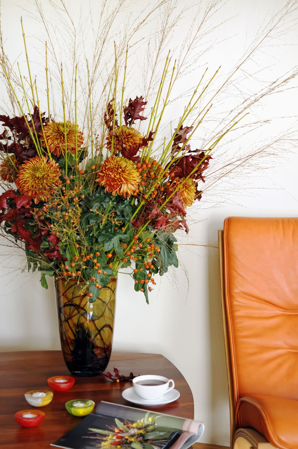 Beautiful Fall Flower Arrangement - Photo Credit Elle Decor by Getty Images