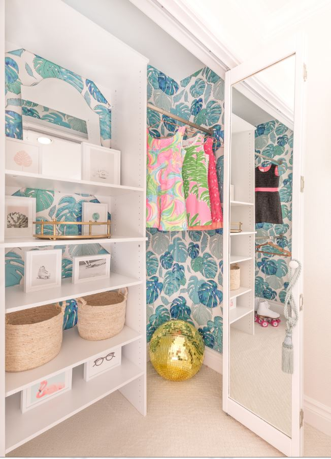 Leaf Wallpaper in Girls Organized Closet | Photo Credit Fred Moser