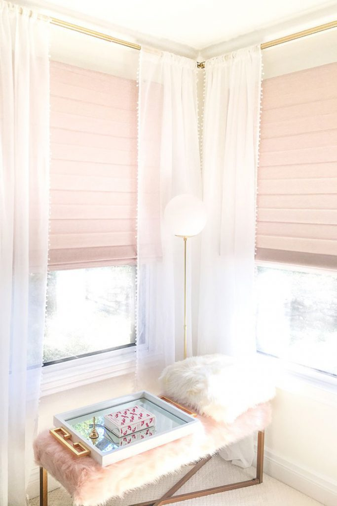 Pink Roman Shades in girls room | Photo Credit Fred Moser