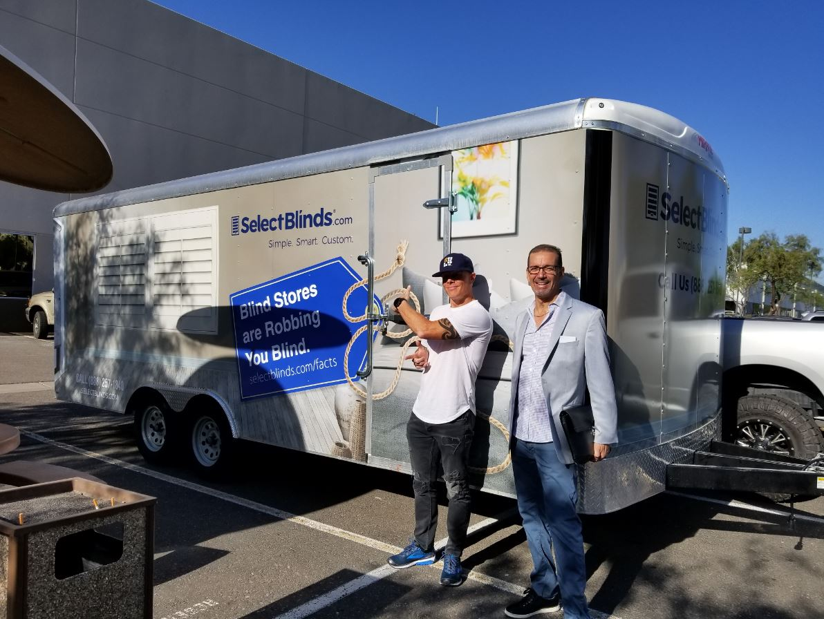 SelectBlinds.com's Rick Steele and Al Silverberg in front of the Road Show Trailer