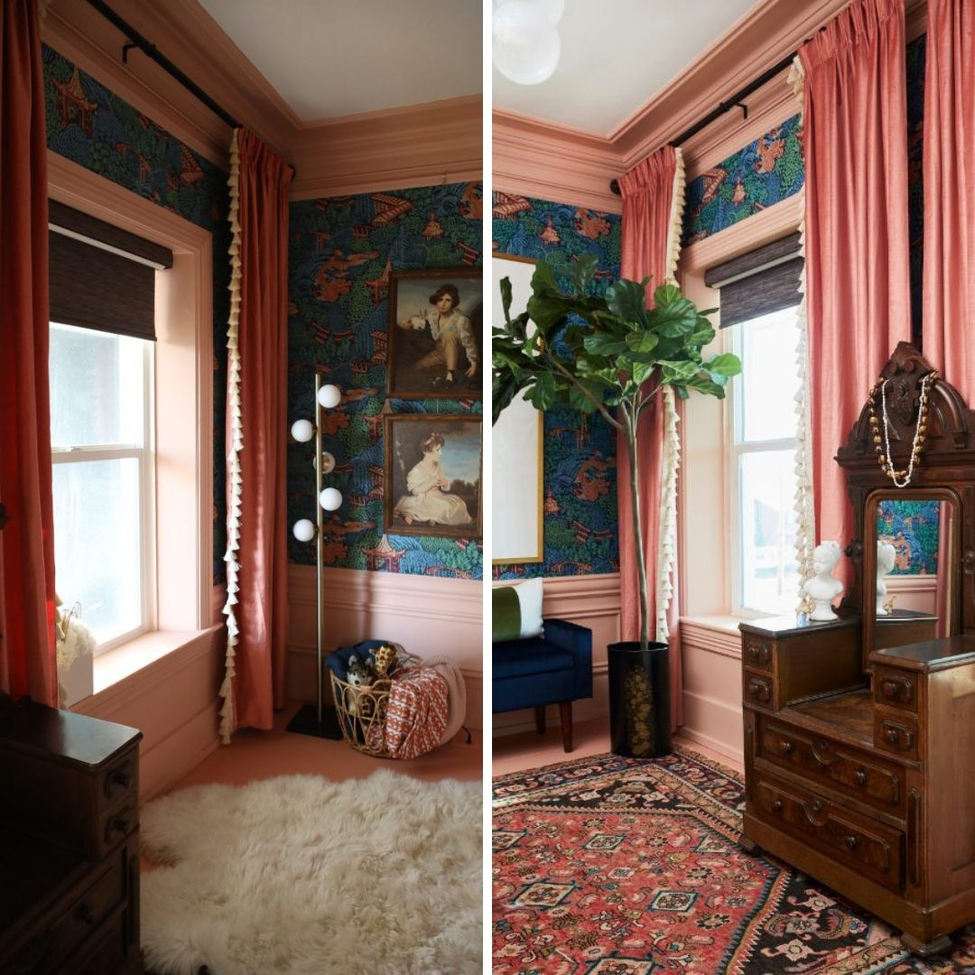 Oriental decor and furniture in renovated girls room with pink drapes