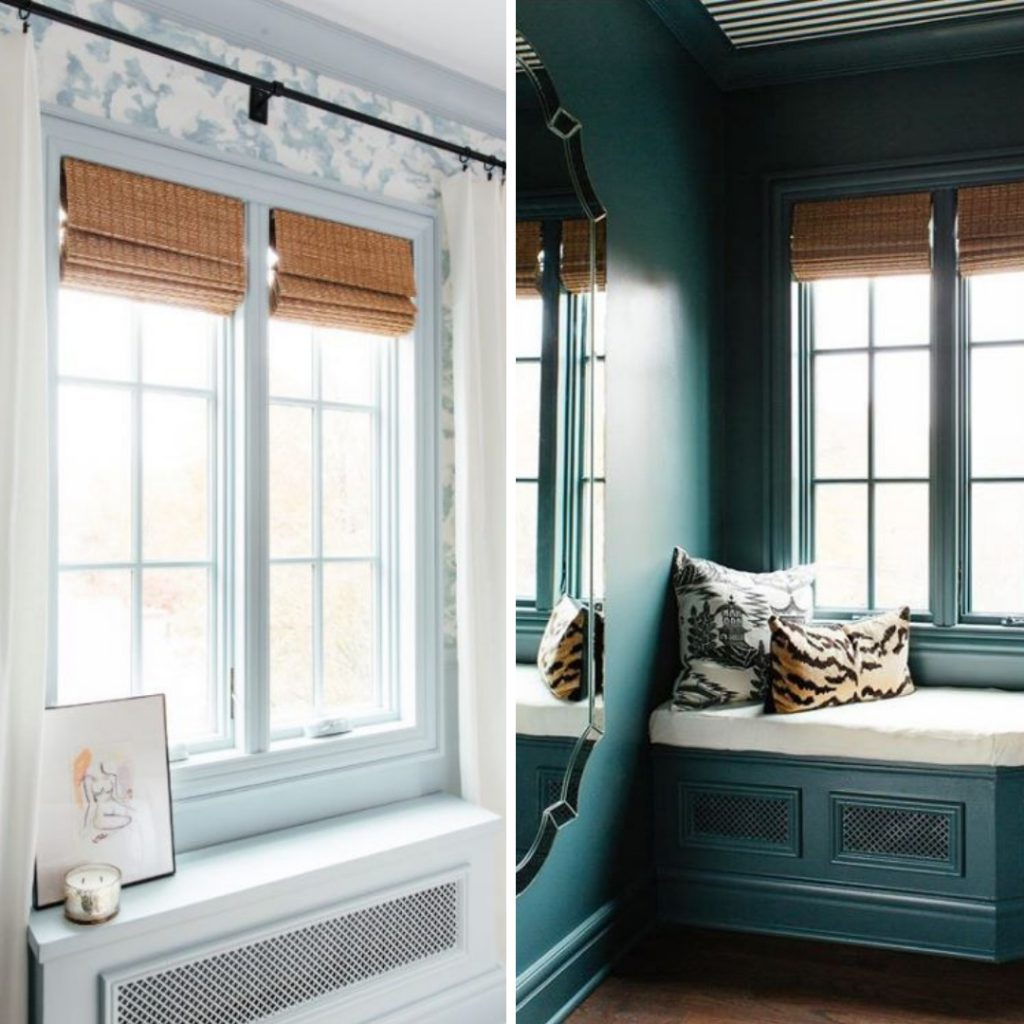 Premier Modern Natural Wood Shades make both of these spots pop