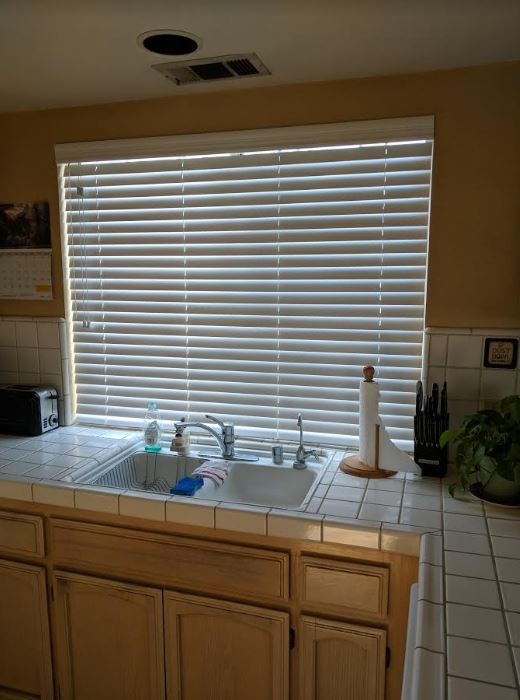 Select 2 in American Hardwood blind closed in kitchen window