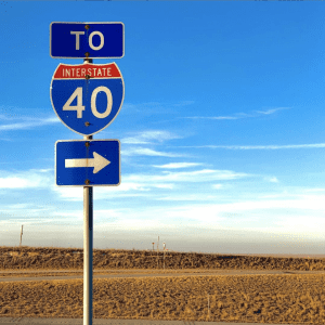 Interstate 40 Road Sign in Desert with Blue Sky