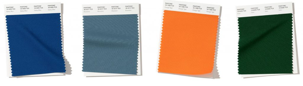 4 Pantone colors for fall 2019 in blues orange and green