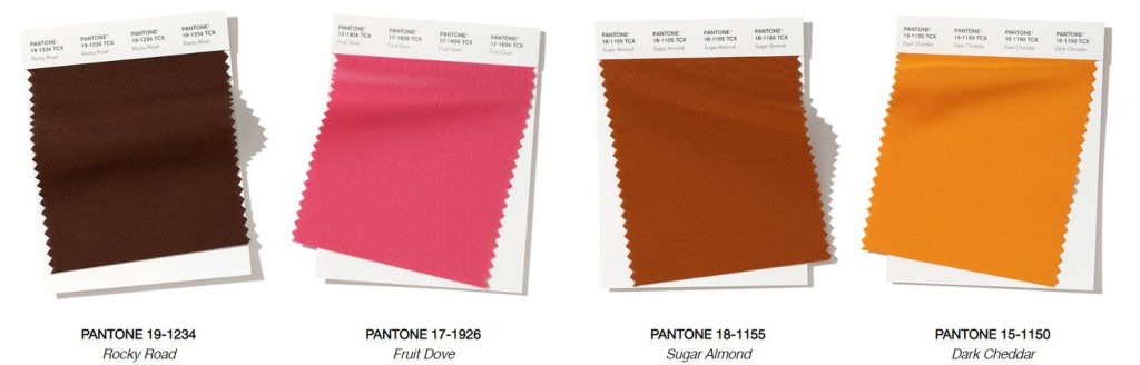 Pantone fall colors rocky road fruit dove sugar almond dark cheddar blinds swatches