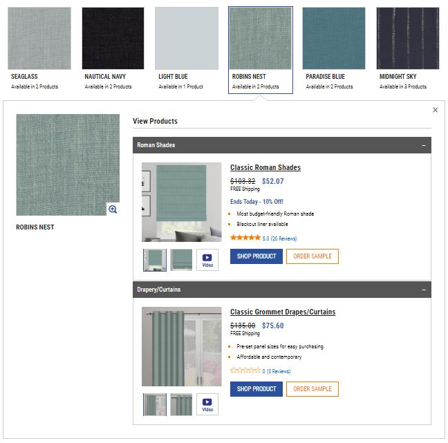 Shop by color screen shot showing available products