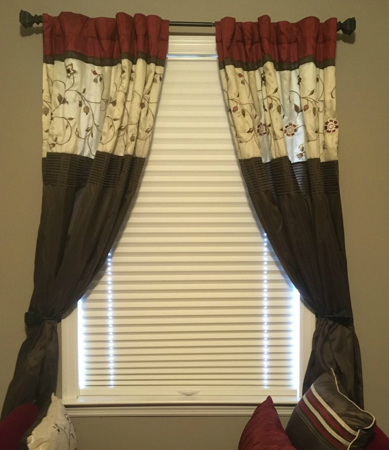 Drapery over White Pleated Shades from SelectBlinds