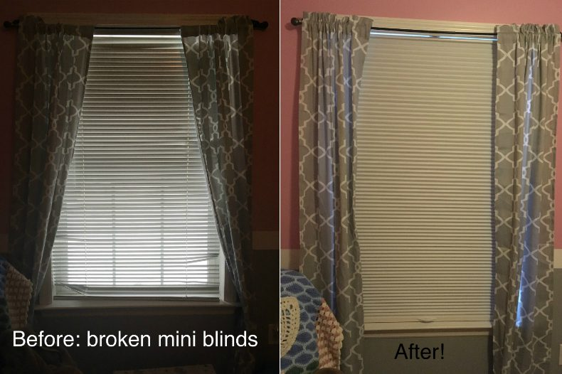Replacing Broken Bedroom Mini Blinds with SelectBlinds.com Blackout Cell Shades