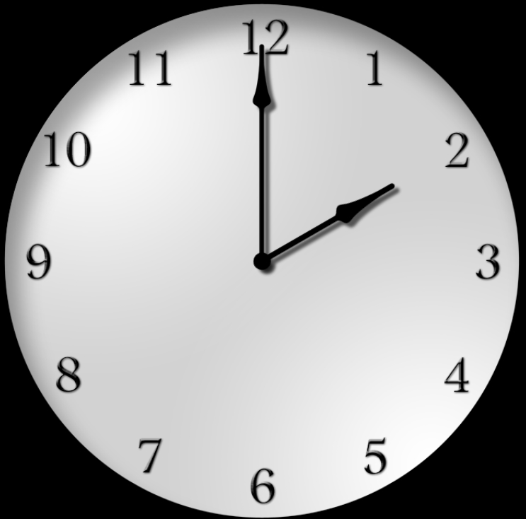 Analog clock showing 2:00 on daylight savings time 2019