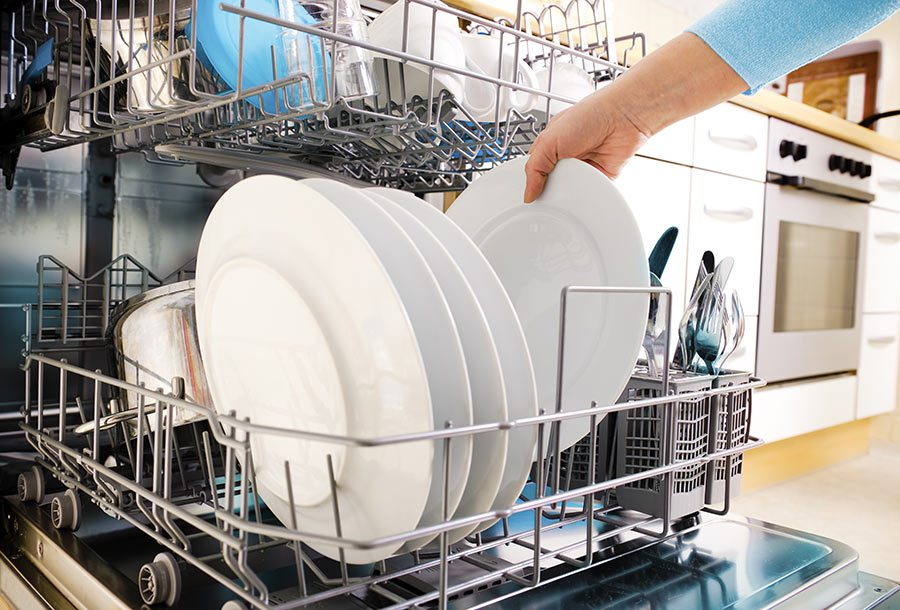 Removing white plates from dishwasher