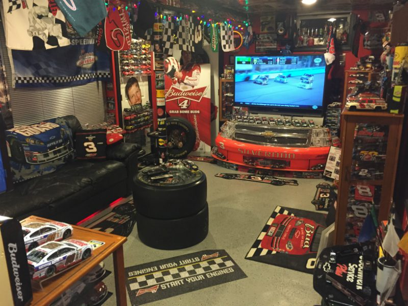 Ultimate NASCAR fan shows huge collection in basement man cave