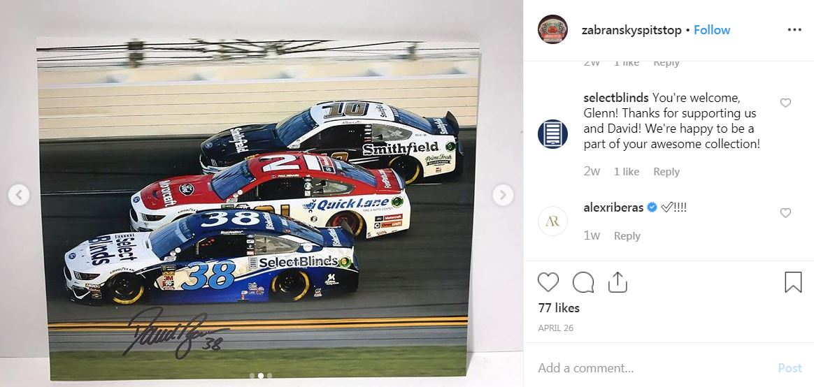 NASCAR action photo signed by driver David Ragan in Select Blinds car