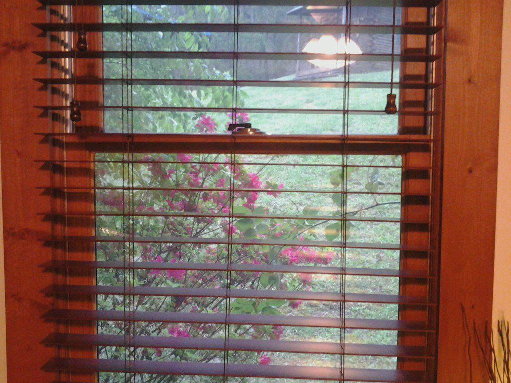 Blooming azalea bush seen through Designer 2 Inch Faux Wood Blinds