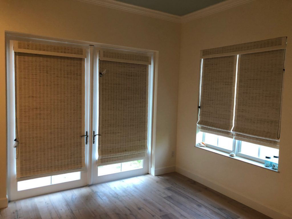 Woven Wood Shades from Select Blinds fit on doors and windows