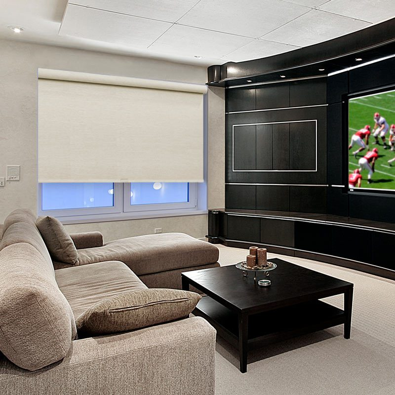 Mancave with blackout roller shades from Select Blinds