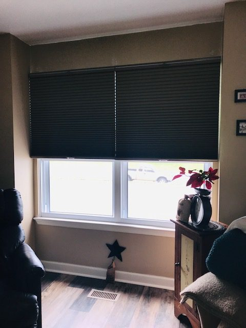 SelectBlinds.com shades block morning light in living room