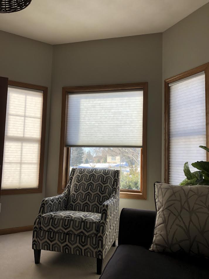 Light Filtering Honeycomb Shades in Greige cover bay window