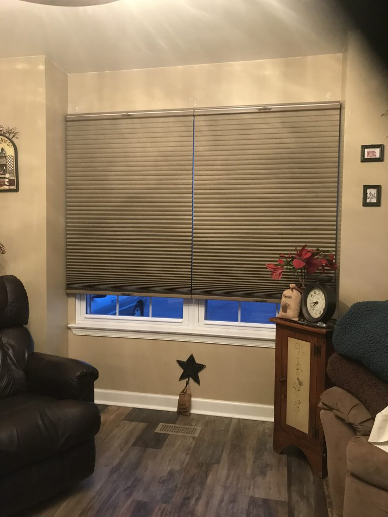 Two blinds in one window for Living Room Window in Snickerdoodle