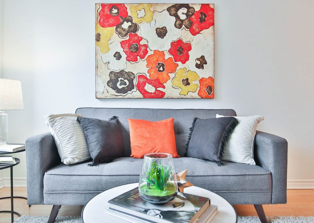 A floral painting adds a pop of color to your wall.