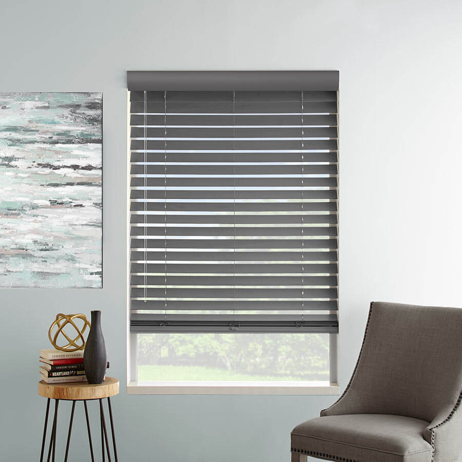 Designer contemporary faux wood blinds