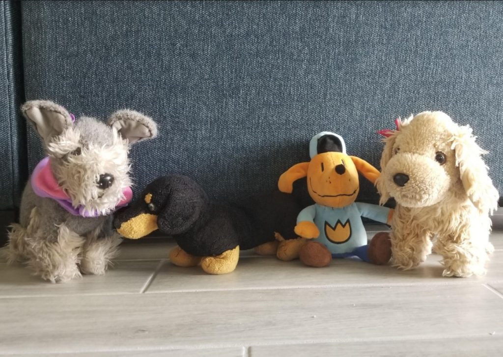 Stuffed animal dogs help keep you company working from home.