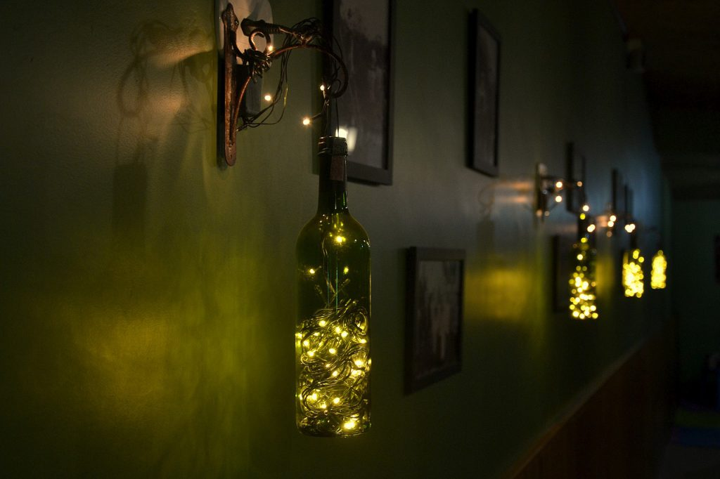 Wine bottles can easily be turned into stylish lamps.