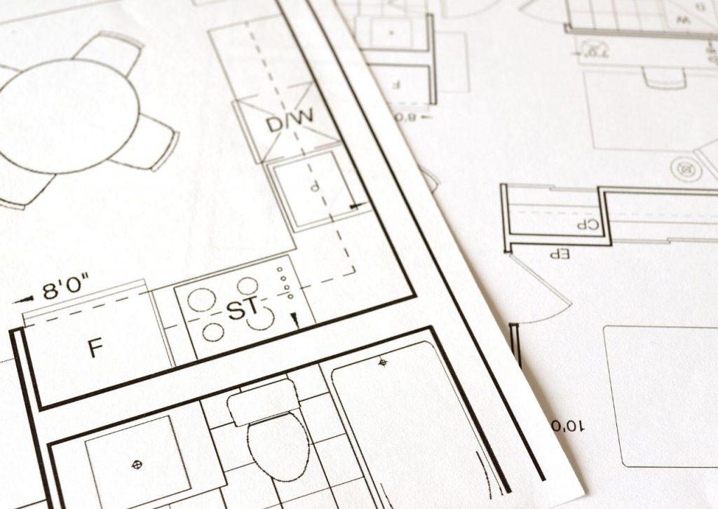Kitchen blueprints in black and white.