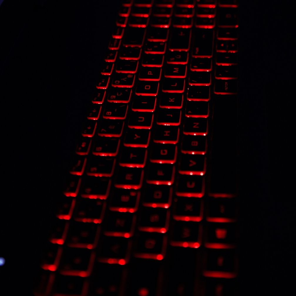 Red and black light-up keyboard.