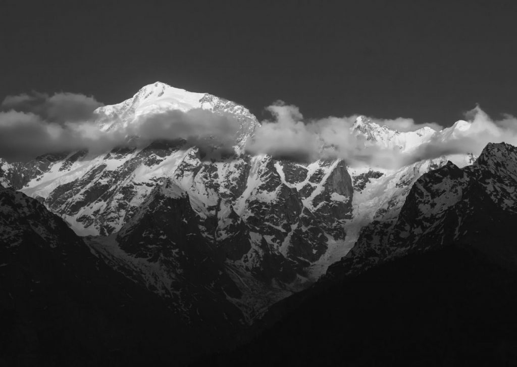 The Himalayas in black and white.