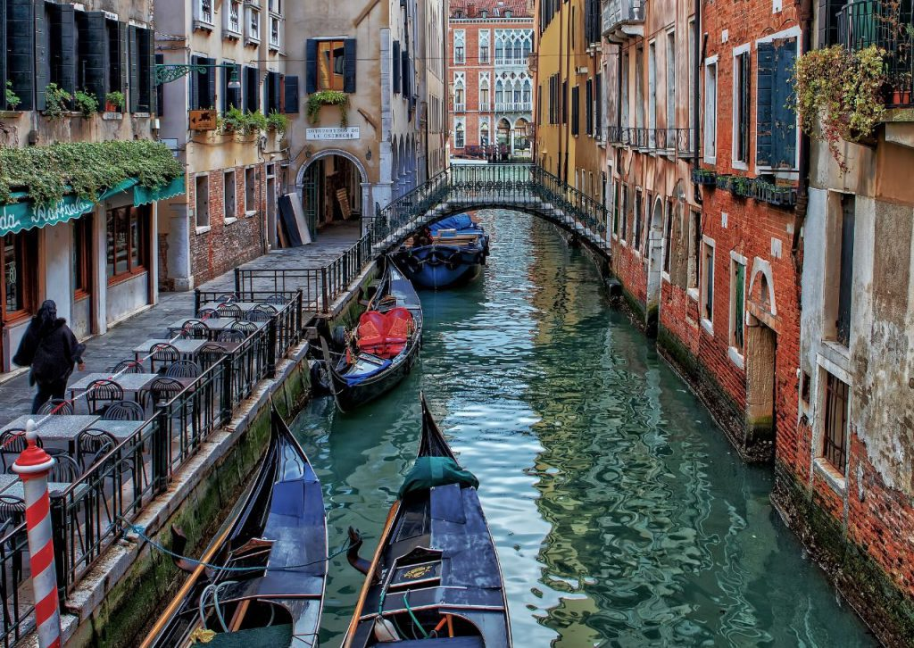 A beautiful canal in the heart of Venice, Italy.