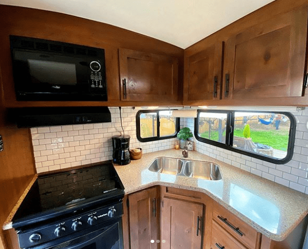 RV kitchen with subway tile