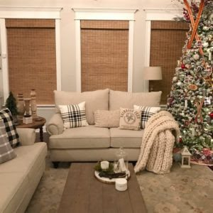 Christmas Living Room with Woven Wood Shades