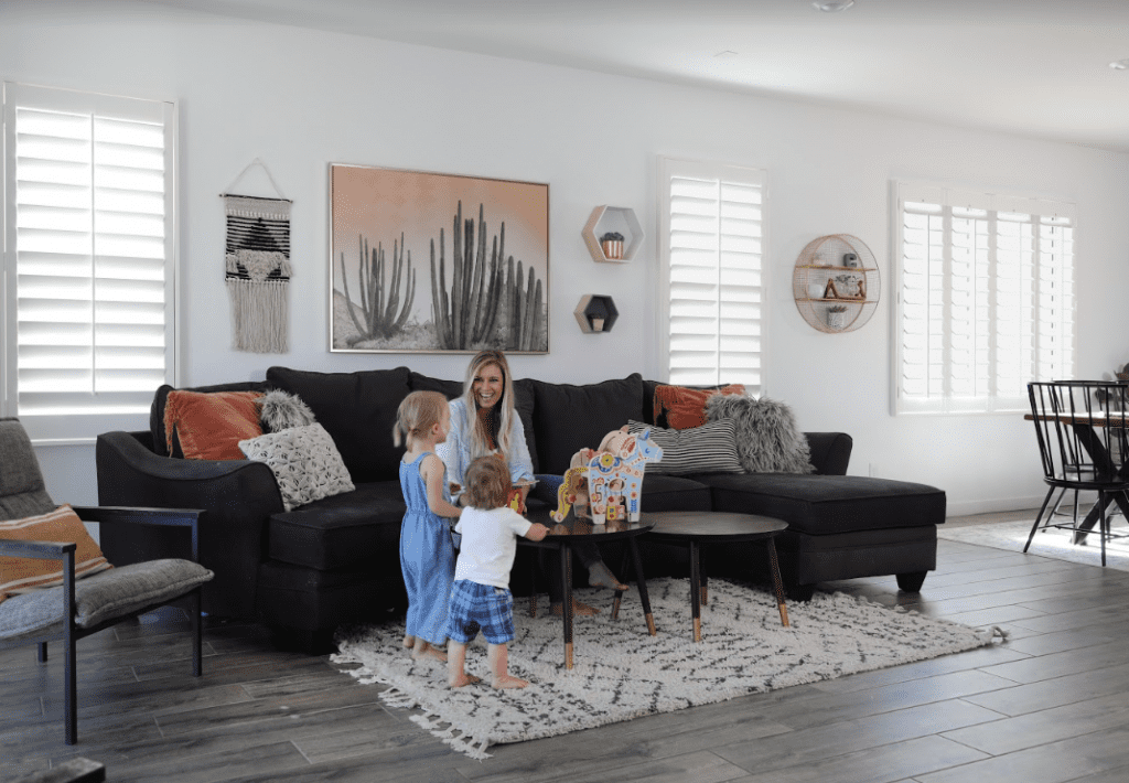 Family room with Lifestyle Painted Shutters