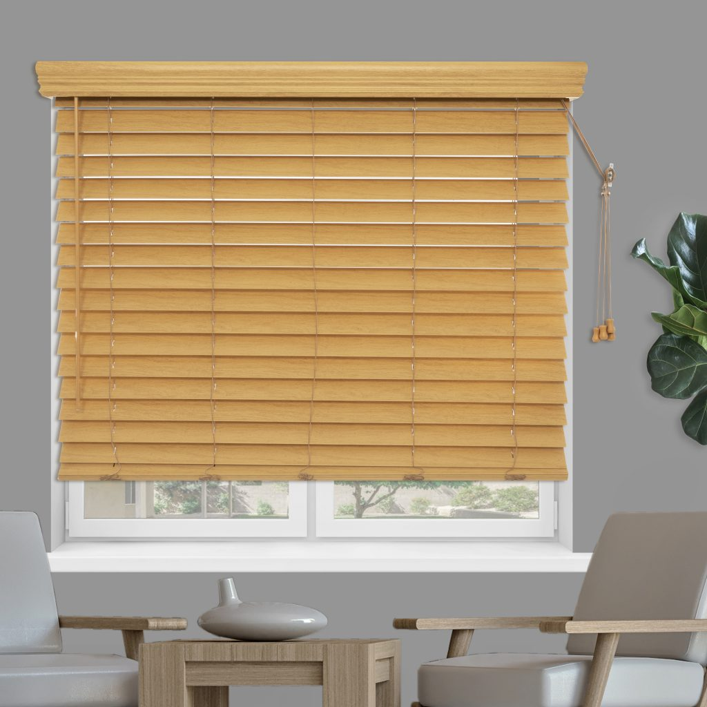 Custom Faux Wood Blinds are durable, look like real wood, and budget-friendly.