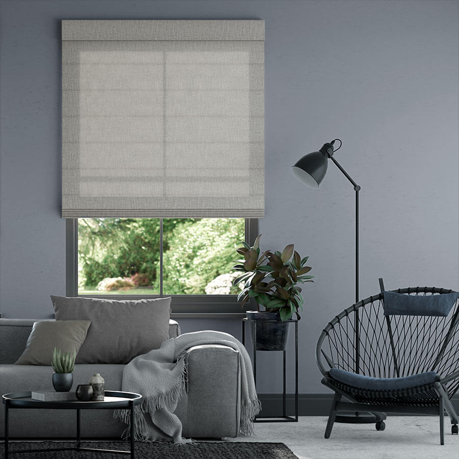 Roman shades in the living room windows.