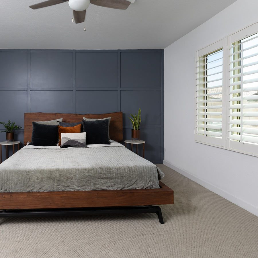 Shutters for a bedroom interior.